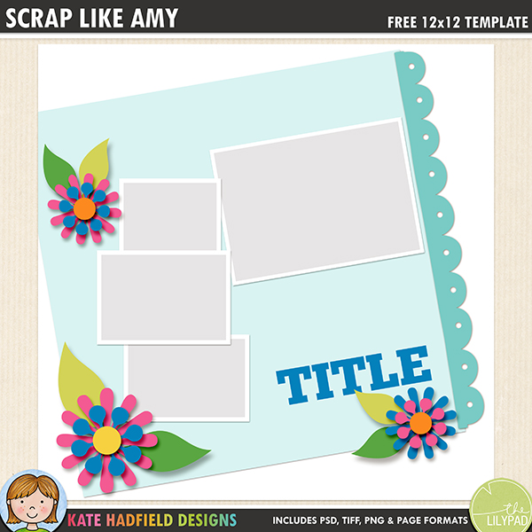 Free digital scrapbooking template / scrapbook sketch from Kate Hadfield Designs! Click for lots of fun digital scrapbook layouts and to download your free template! Download contains PSD, TIFF, png and .page file formats.