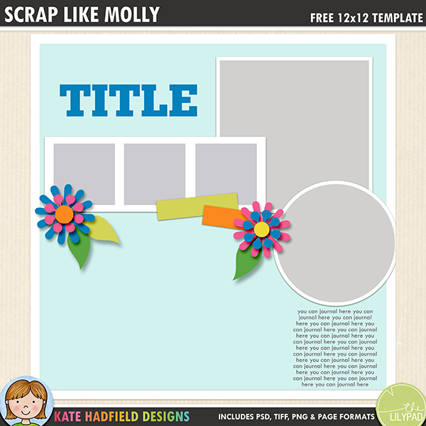 Free digital scrapbooking template / scrapbook sketch from Kate Hadfield Designs! This template is perfect for showing off your favourite photos! Download contains PSD, TIFF, png and .page file formats.