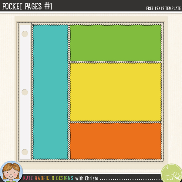 """Pocket Pages #1"" FREE digital scrapbooking template / scrapbook sketch form Kate Hadfield Designs"