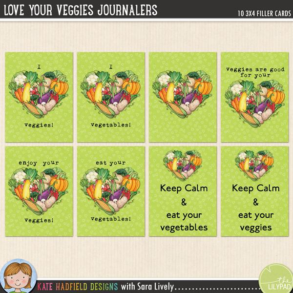 """Love Your Veggies"" FREE journal / filler pocket scrapbooking cards"