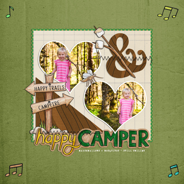 Gallery Standouts: Happy Camper digital scrapbooking layout by EHStudios | scrapbook layout ideas | Kate Hadfield Designs