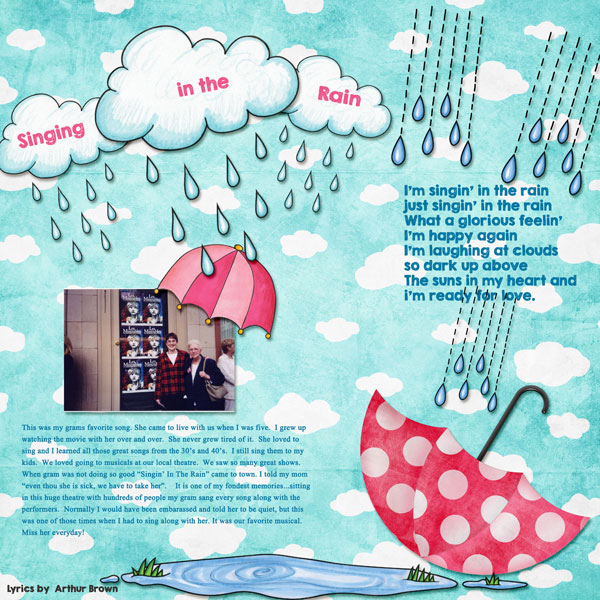 Singin the Rain digital scrapbooking page | scrapbook layout ideas | Kate Hadfield Designs creative team layout by Amy
