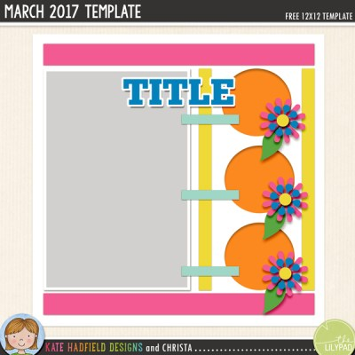 Free Digital Scrapbooking Template / scrapbook sketch from Kate Hadfield Designs