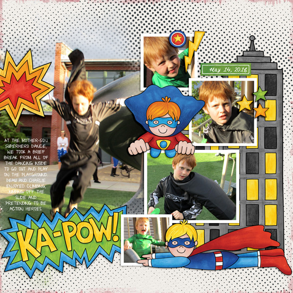 Ka-pow! digital scrapbooking page | scrapbook layout ideas | Kate Hadfield Designs creative team layout by Molly
