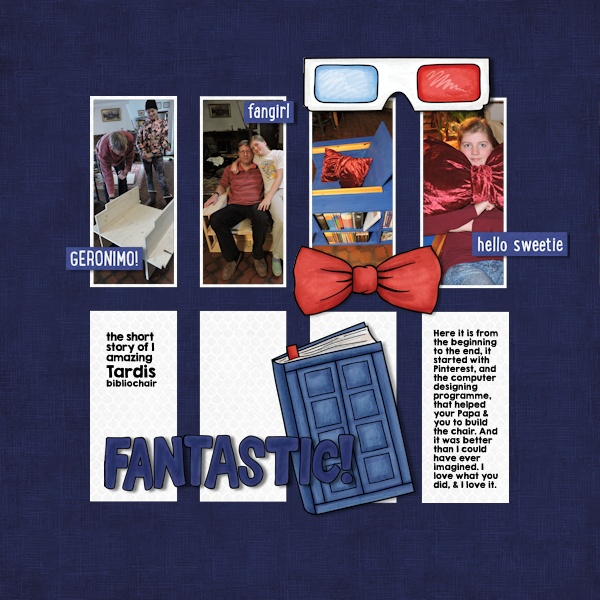 """Tardis Chair"" digital scrapbooking page 