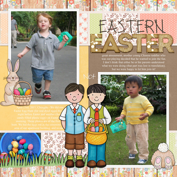 Digital scrapbook page created with the Egg Hunters digital scrapbook kit from Kate Hadfield Designs! | Layout by Creative Team member Molly
