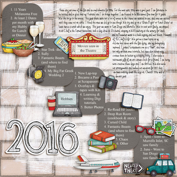 """2016"" photo-less digital scrapbook layout 