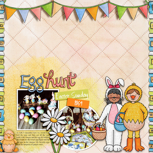 Digital scrapbook page created with the Egg Hunters digital scrapbook kit from Kate Hadfield Designs! | Layout by Creative Team member Christa