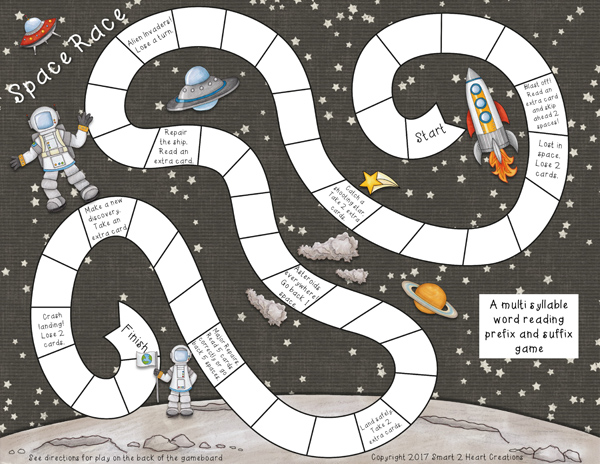"Space board game created with ""Blast Off!"" digital scrapbooking kit by Kate Hadfield 