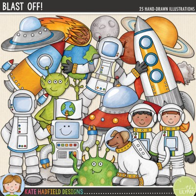 Blast Off! Space digital scrapbooking kit / clip art from Kate Hadfield Designs