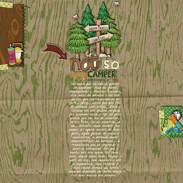 "Camping digital scrapbook page created with ""Summer Camp"" digital scrapbooking kit by Kate Hadfield Designs 