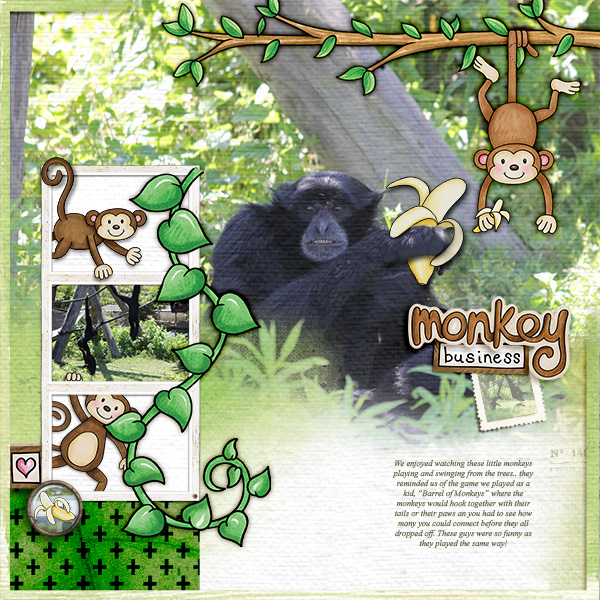 """Fun digital scrapbook page created with """"Monkeying Around"""" digital scrapbooking kit by Kate Hadfield Designs 