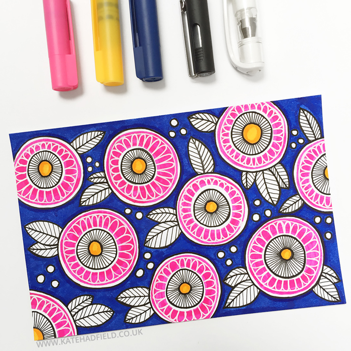 colourful floral pattern drawing on an index card