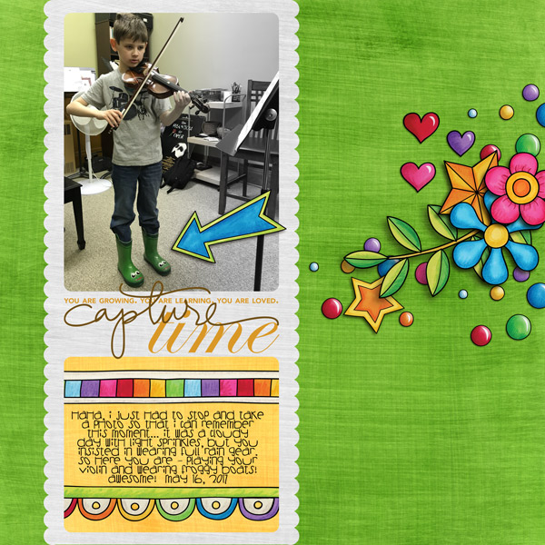 "Fun digital scrapbook page created with ""Over the Rainbow"" digital scrapbooking kit by Kate Hadfield Designs 