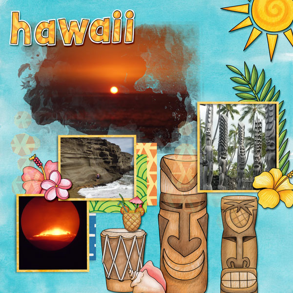"""Tropical vacation scrapbook page created with """"Island Paradise"""" digital scrapbooking kit by Kate Hadfield Designs - fun ideas for vacation scrapbook pages! Layout by Creative Team member Amy"""