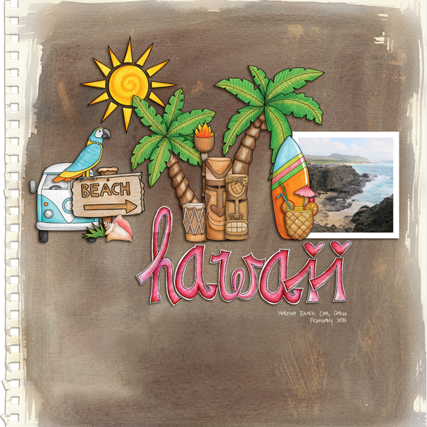 """Tropical vacation scrapbook page created with """"Island Paradise"""" digital scrapbooking kit by Kate Hadfield Designs - fun ideas for vacation scrapbook pages! Layout by Creative Team member Melanie"""