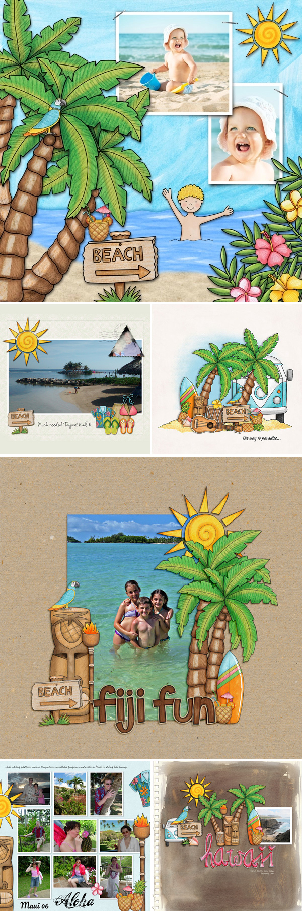 "Tropical vacation scrapbook pages created with ""Island Paradise"" digital scrapbooking kit by Kate Hadfield Designs - fun ideas for vacation scrapbook pages!"