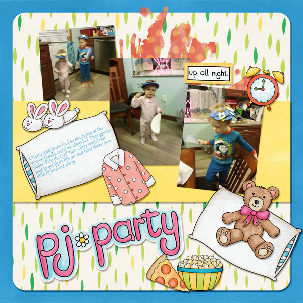 Slumber party / sleepover scrapbook page created with 'PJ Party' digital scrapbooking kit by Kate Hadfield Designs – fun ideas for scrapbook pages! Layout by Creative Team member Amy