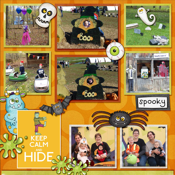 """Halloween scrapbook page created with the """"Oogly Boogly"""" digital scrapbooking kit from Kate Hadfield Designs – fun ideas for Halloween scrapbook pages! #digitalscrapbooking Layout created by Creative Team member Amy"""