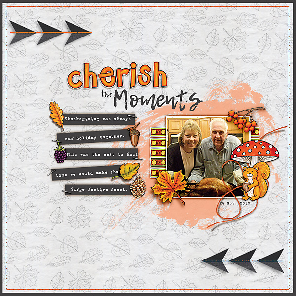 Digital scrapbooking page created with this month's free template from Kate Hadfield – fun ideas for scrapbook pages! Layout created by Creative Team member Christa
