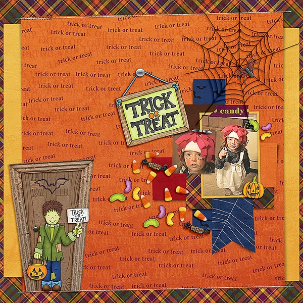 "Halloween scrapbook page created with the ""Trickity Treat"" digital scrapbooking kit by Kate Hadfield and Kim Jensen – fun ideas for Halloween scrapbook pages! Layout created by Creative Team member Cindy"
