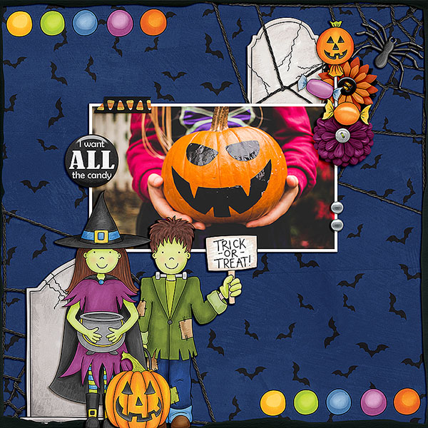 "Halloween scrapbook page created with the ""Trickity Treat"" digital scrapbooking kit by Kate Hadfield and Kim Jensen – fun ideas for Halloween scrapbook pages! Layout created by Creative Team member Dagi"