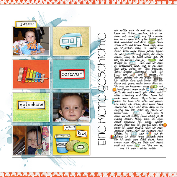 Digital scrapbook page created with digital scrapbooking kits by Kate Hadfield – fun ideas for scrapbook pages! Layout created by Creative Team member Birgit