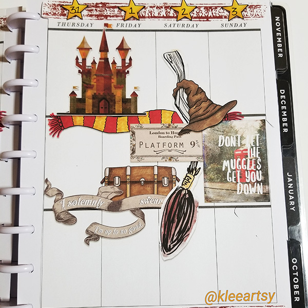 """Wizarding planner page created with the """"Wizardry"""" digital scrapbooking kit from Kate Hadfield Designs – fun ideas for Harry Potter planner and scrapbook pages! Layout created by Creative Team member Kristina"""