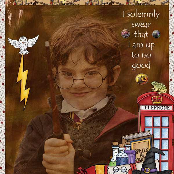 """Wizarding scrapbook pages created with the """"Wizardry"""" digital scrapbooking kit from Kate Hadfield Designs – fun ideas for Harry Potter scrapbook pages! Layout created by Creative Team member Stacey"""