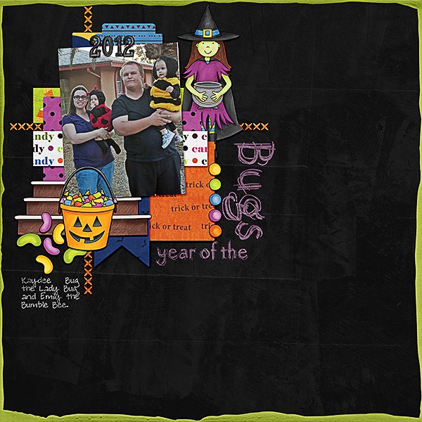"Halloween scrapbook page created with the ""Trickity Treat"" digital scrapbooking kit by Kate Hadfield and Kim Jensen – fun ideas for Halloween scrapbook pages! Layout created by Creative Team member Kristina"