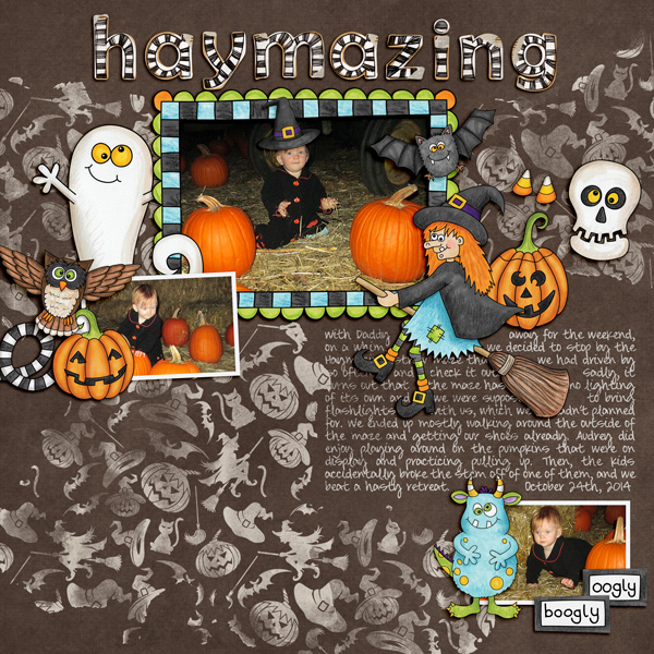 "Halloween scrapbook page created with the ""Oogly Boogly"" digital scrapbooking kit from Kate Hadfield Designs – fun ideas for Halloween scrapbook pages! #digitalscrapbooking Layout created by Creative Team member Molly"