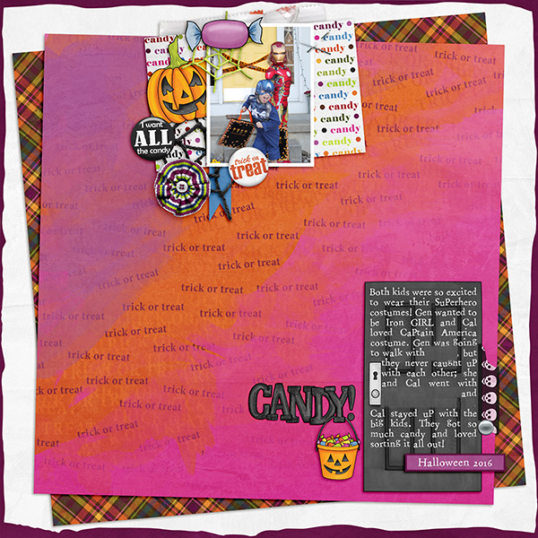 "Halloween scrapbook page created with the ""Trickity Treat"" digital scrapbooking kit by Kate Hadfield and Kim Jensen – fun ideas for Halloween scrapbook pages! Layout created by Creative Team member Sara"
