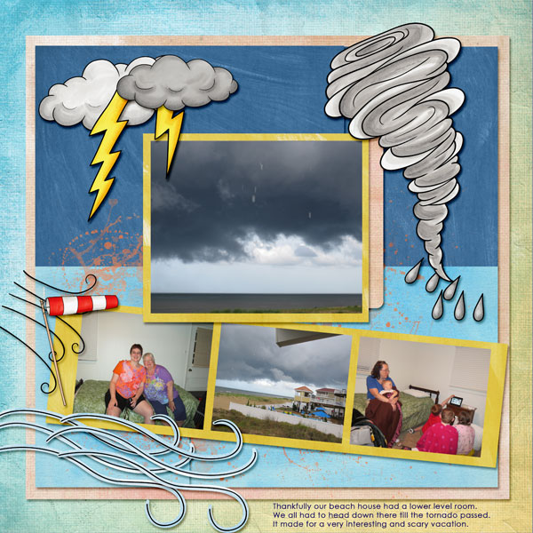 "Digital scrapbook page created with the ""Whatever the Weather"" digital scrapbooking kit by Kate Hadfield – fun ideas for scrapbook pages! Layout created by Creative Team member Amy"