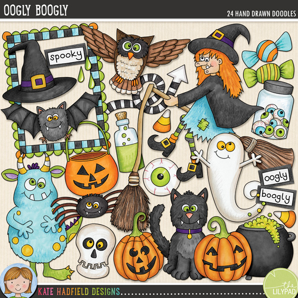 Halloween characters digital scrapbooking elements and cute Halloween monster clip art! Hand-drawn illustrations for digital scrapbooking, crafting and teaching resources from Kate Hadfield Designs! #digitalscrapbooking #clipartforteachers
