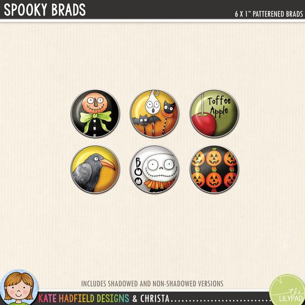 Halloween brads digital scrapbooking elements freebie! Hand-drawn kits for digital scrapbooking and hybrid crafting from Kate Hadfield Designs!