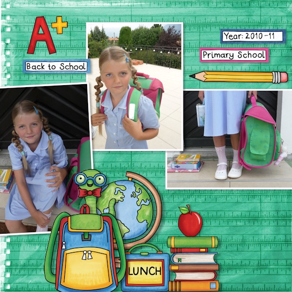 School scrapbook pages and ideas for back to school scrapbooking from the Kate Hadfield Designs Creative Team! #digitalscrapbooking #scrapbook Layout created by CT member Olga