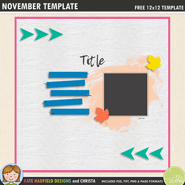 Free digital scrapbooking template / scrapbook sketch from Kate Hadfield Designs. Click to download your template and to see lots of digital scrapbook pages created with this fun, circle-inspired template! Download includes PSD, Tiff, png and .page file formats.