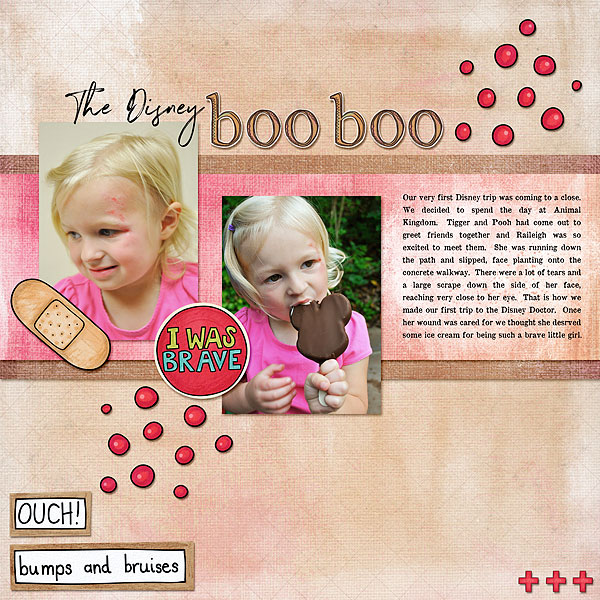 "Accident / illness scrapbook pages created with the ""Bruises and Breaks"" digital scrapbooking kit from Kate Hadfield Designs - ideas and inspiration for scrapbookers! Layout created by Creative Team member Desi"