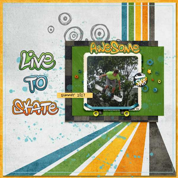 Digital scrapbooking page created with this month's free template from Kate Hadfield – fun ideas for scrapbook pages! Layout created by Creative Team member Stacey
