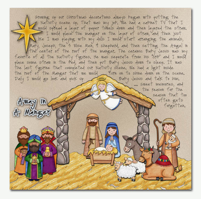 Nativity scrapbook page created with digital scrapbooking kits from Kate Hadfield Designs – ideas and inspiration for scrapbooking the Christmas story. Layout by Creative Team member Christa