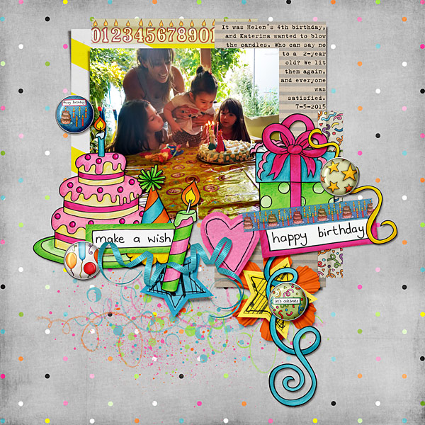 Birthday scrapbook page created with digital scrapbooking kits from Kate Hadfield Designs – fun ideas and inspiration for scrapbooking birthdays and celebrations! Layout by Creative Team member Cindy