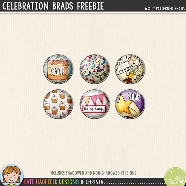 Celebration Brads digital scrapbook elements freebie - perfect for New Year and birthday celebrations! Hand-drawn digital scrapbook kits from Kate Hadfield Designs.
