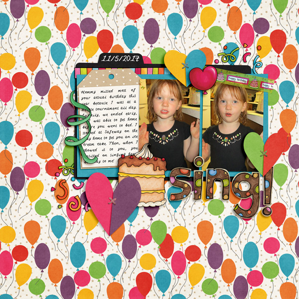 Birthday scrapbook page created with digital scrapbooking kits from Kate Hadfield Designs – fun ideas and inspiration for scrapbooking birthdays and celebrations! Layout by Creative Team member Molly