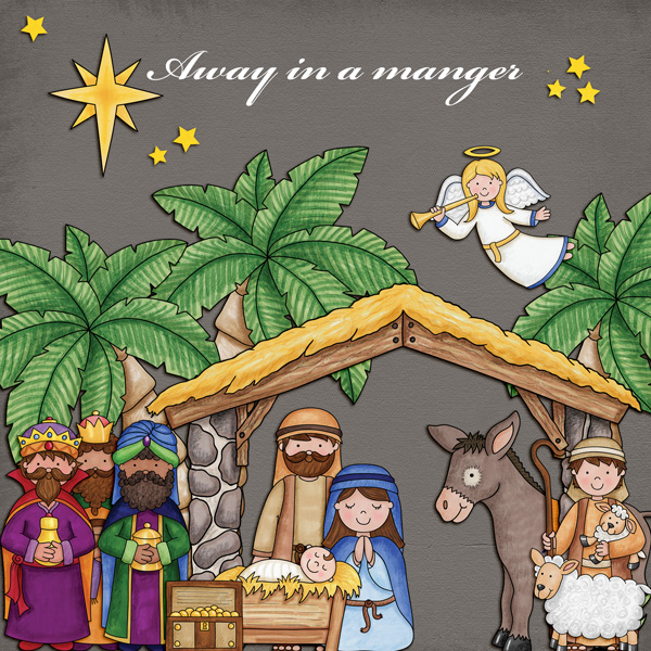 Nativity scrapbook page created with digital scrapbooking kits from Kate Hadfield Designs – ideas and inspiration for scrapbooking the Christmas story. Layout by Creative Team member Kirstie