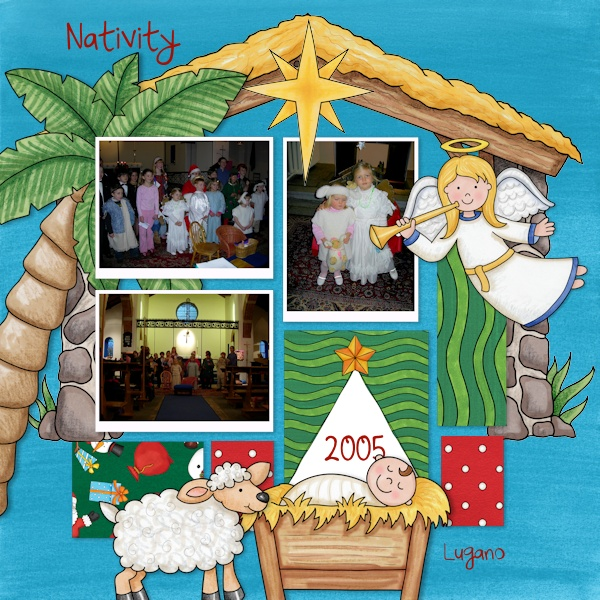Nativity scrapbook page created with digital scrapbooking kits from Kate Hadfield Designs – ideas and inspiration for scrapbooking the Christmas story. Layout by Creative Team member Olga