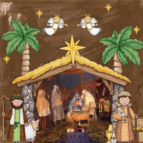 Nativity scrapbook page created with digital scrapbooking kits from Kate Hadfield Designs – ideas and inspiration for scrapbooking the Christmas story. Layout by Creative Team member Stacey