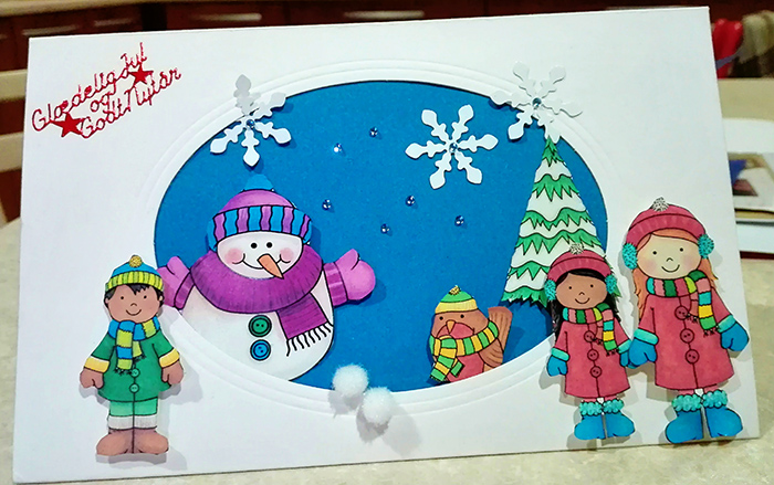 "Hybrid craft project - Christmas card created with the ""Wrap UP Warm"" digital scrapbooking elements from Kate Hadfield - fun ideas for using your digital supplies to make craft projects! Card by Creative Team member Vivi"