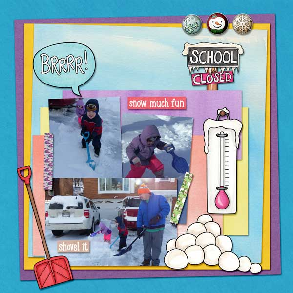 winter digitial scrapbook layout created with free template