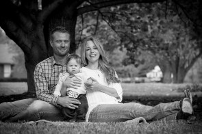 sweet family under a tree