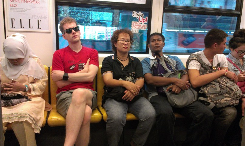 Sean also commutes by BTS. However, this is him on a Saturday.